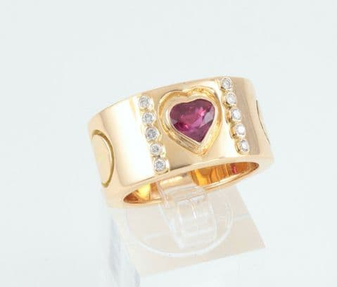 Vintage 18Ct Gold , Heart Shaped Ruby And Diamond Band / Ring